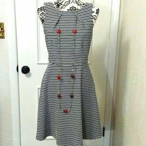 BOGO Elle Black and White Fit and Flare Dress